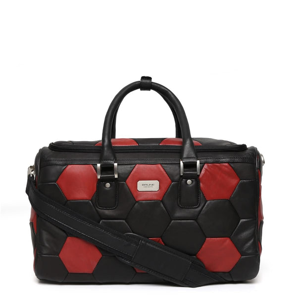 Red-Black Soccer Inspired Leather Duffle Bag By Brune