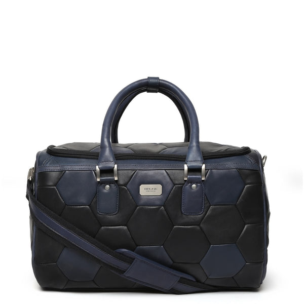 Blue-Black Soccer Inspired Leather Duffle Bag by BRUNE