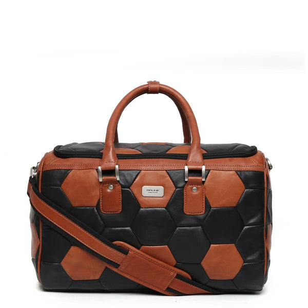 Tan-Black Soccer Inspired Leather Duffle Bag By Brune
