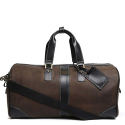 Matte Brown Contrast Black Strap Leather Duffle Bag By Brune