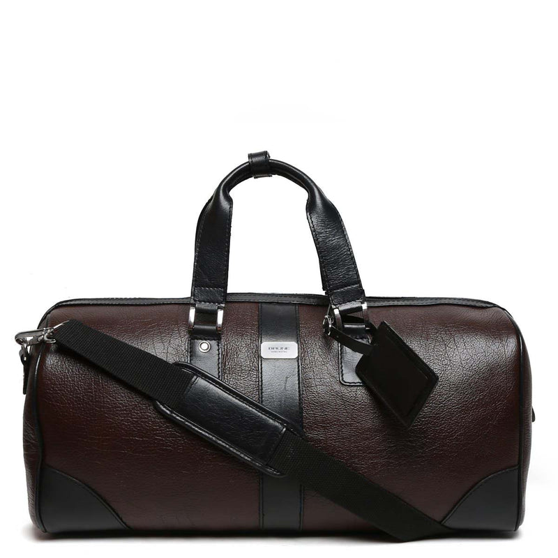 Contrast Black Strap Brown Leather Duffle Bag By Brune