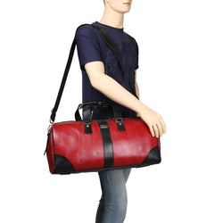 Contrast Black Strap Red Leather Duffle Bag by BRUNE