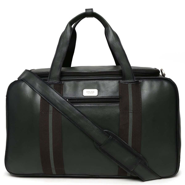 Squared Green Leather High Capacity Travel Bag By Brune
