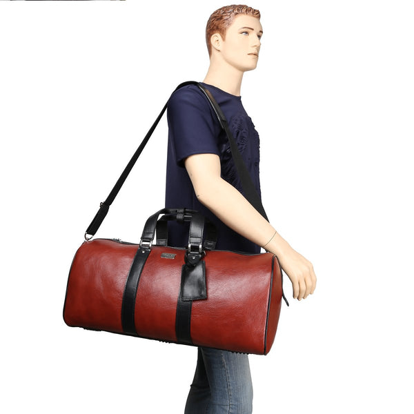 Contrast Black Dual Strap Red Leather Duffle Bag By Brune