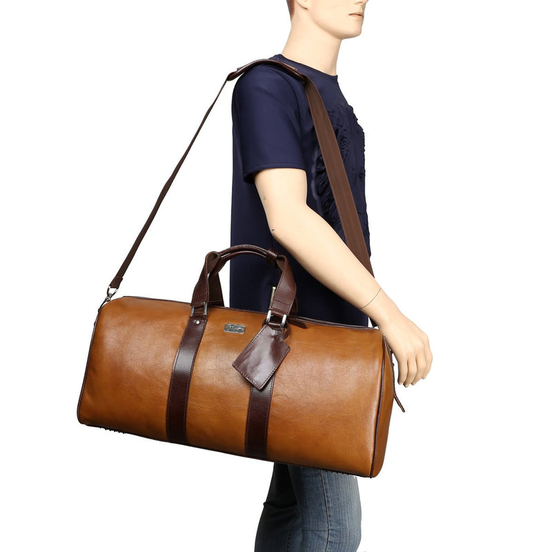 Contrast Brown Dual Strap Tan Leather Duffle Bag by BRUNE