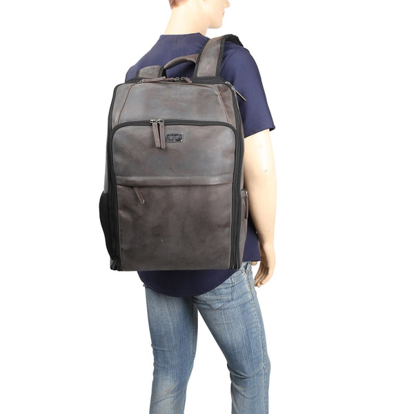 Spacious Graphite Leather Backpack By Brune