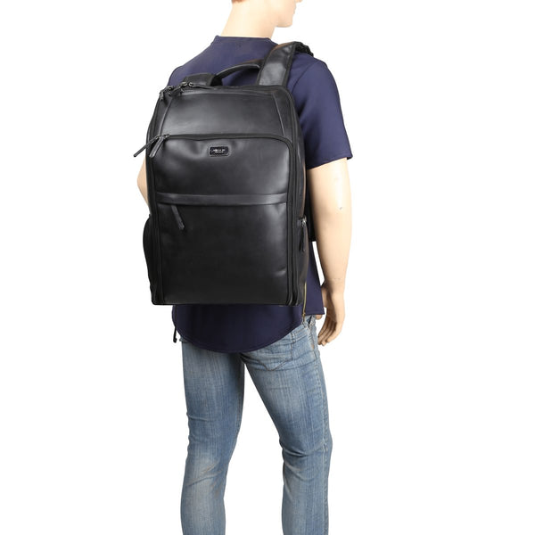 Spacious Black Leather Backpack By Brune
