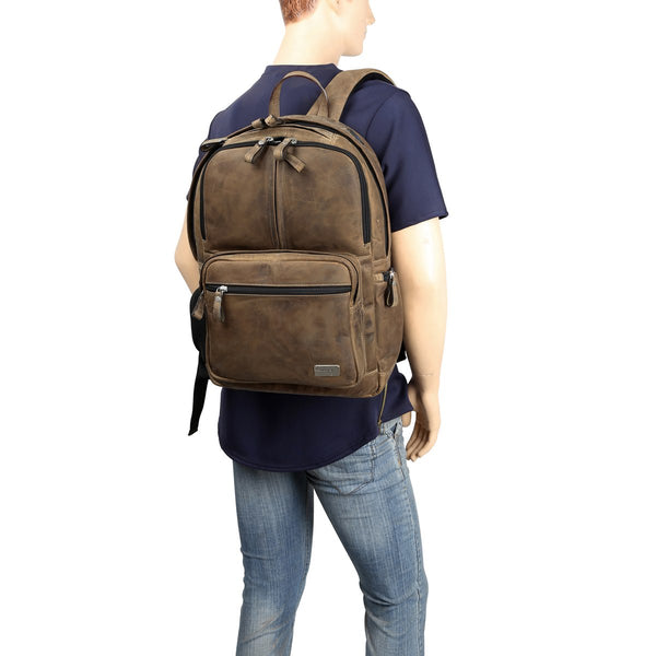 Insiza | Camel Accent Leather Backpack By Brune