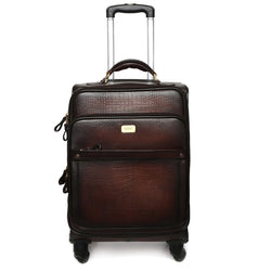 Croco Brown Quad Wheel Cabin Luggage Leather Bag By Brune