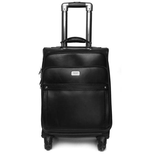 Black Quad Wheel Leather Strolley Travel Bag By Brune