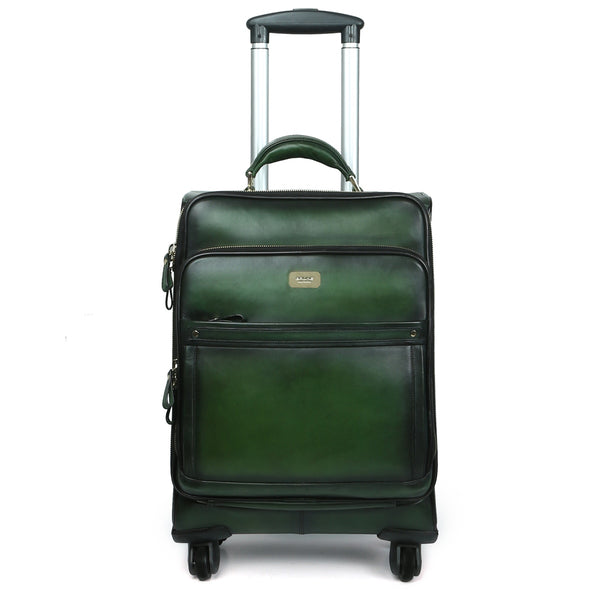 Green Quad Wheel Leather Strolley Travel Bag By Brune & Bareskin