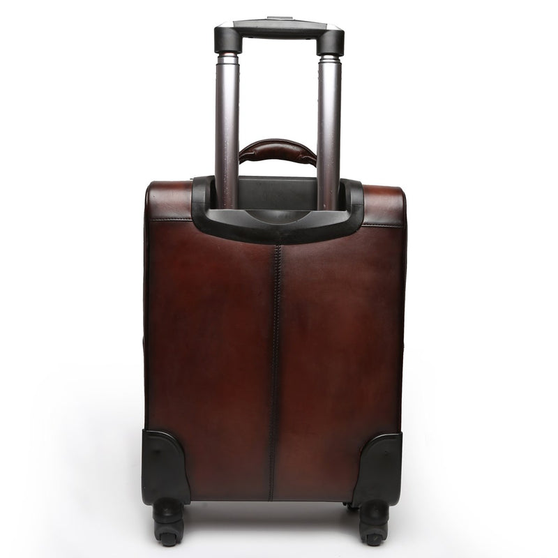 Brown Front Suitcase Opening Leather Travel Strolley Bag By Brune