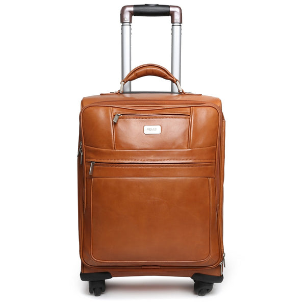 Tan Front Suitcase Opening Leather Travel Strolley Bag By Brune