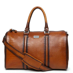Tan Croco Details Classic Duffle Bag By Brune