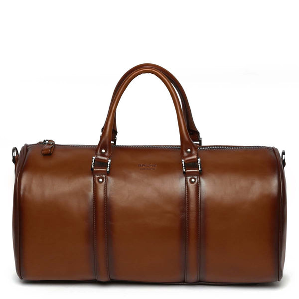 Brown Leather Embossed Brune Logo Duffle Bag