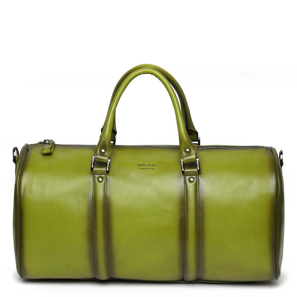 Olive Green Leather Embossed Brune Logo Duffle Bag