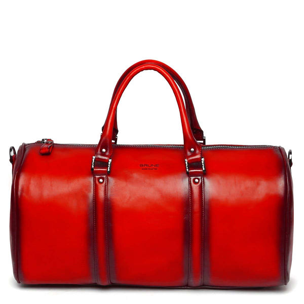 Red Leather Embossed Brune Logo Duffle Bag