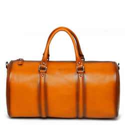 Orange Leather Embossed Brune Logo Duffle Bag
