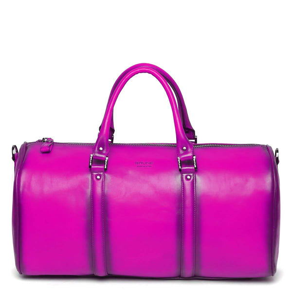 Pink Leather Embossed Brune Logo Duffle Bag