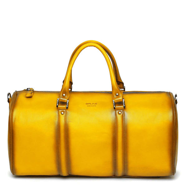 Yellow Leather Embossed Brune Logo Duffle Bag