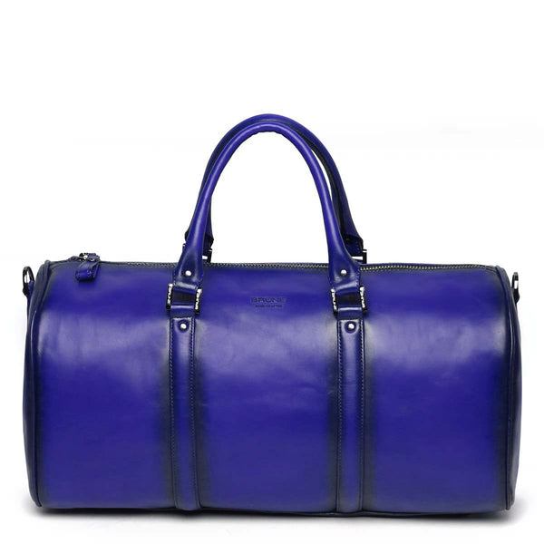 Blue Leather Embossed Brune Logo Duffle Bag