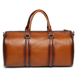 Tan Leather Embossed Brune Logo Duffle Bag