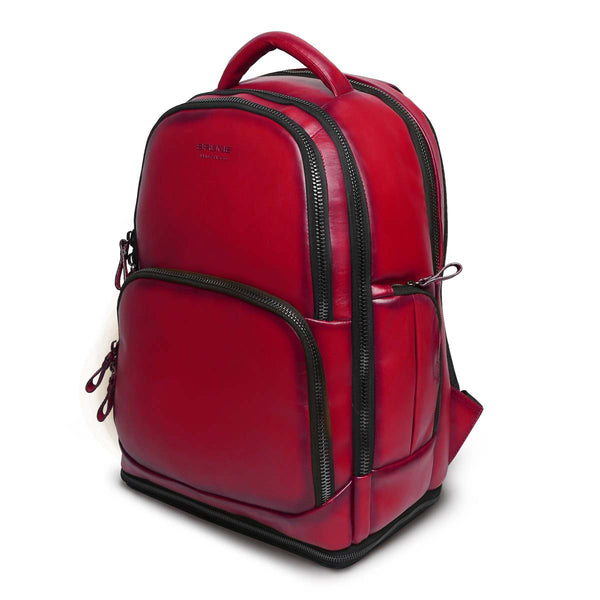 Wine Leather Embossed Brune Logo Backpack