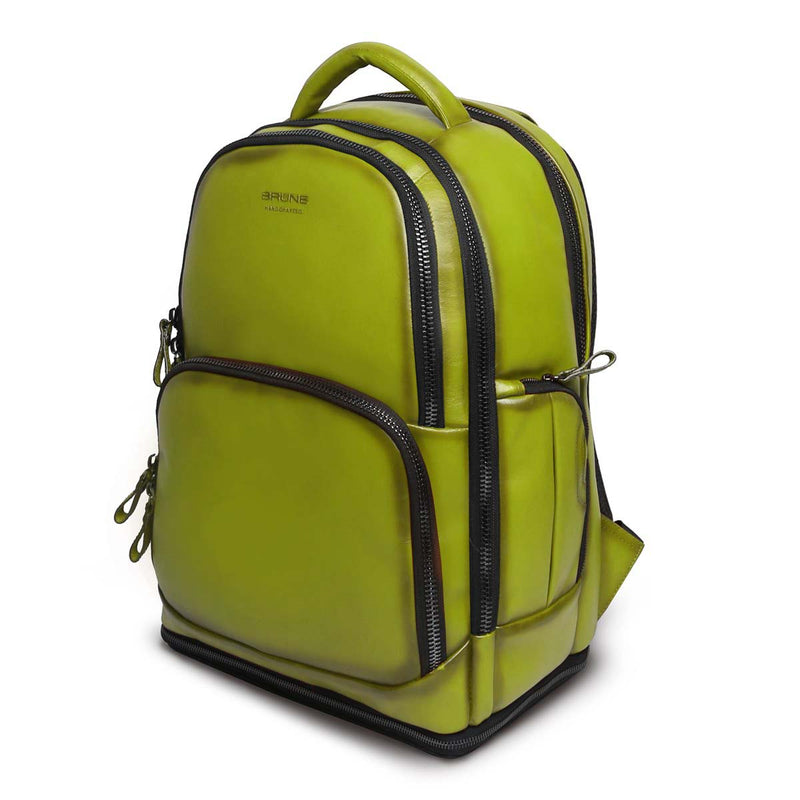 Olive Green Leather Embossed Brune Logo Backpack