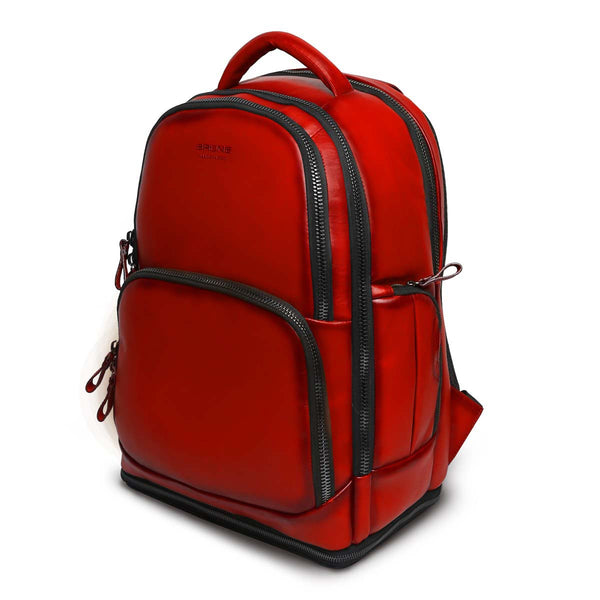 Red Leather Embossed Brune Logo Backpack