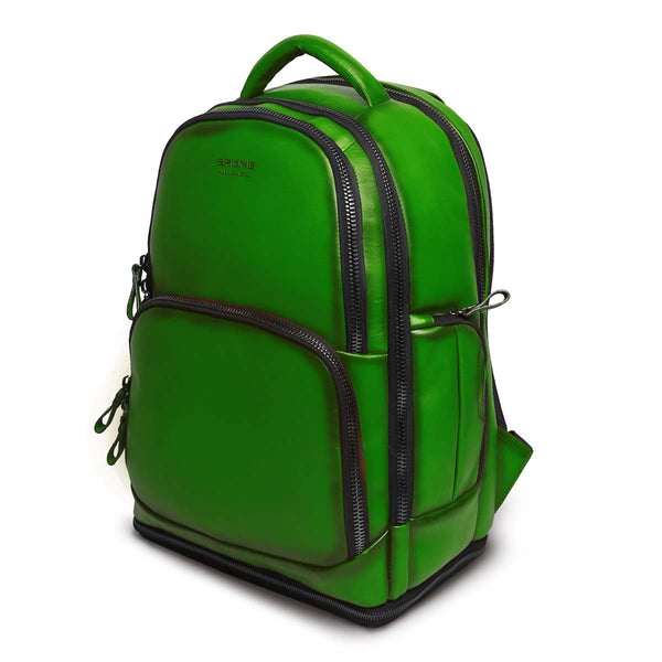Green Leather Embossed Brune Logo Backpack