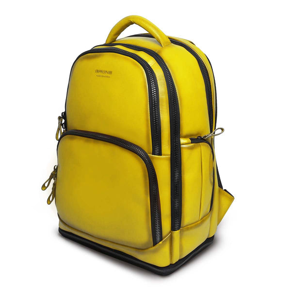 Yellow Leather Embossed Brune Logo Backpack