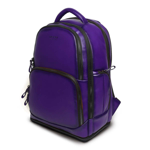 Purple Leather Embossed Brune Logo Backpack