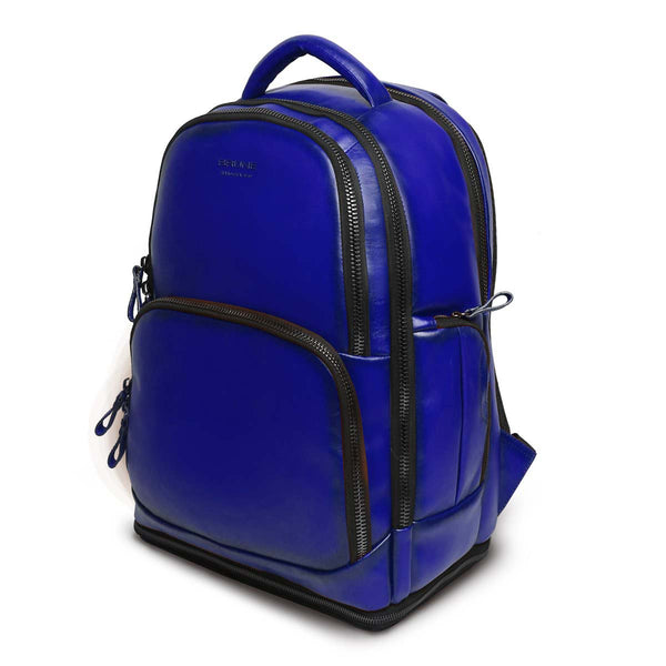 Blue Leather Embossed Brune Logo Backpack