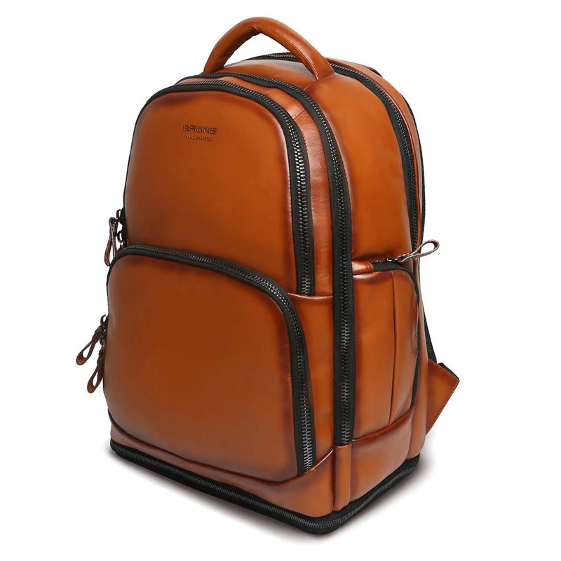 Tan Leather Embossed Brune Logo Backpack