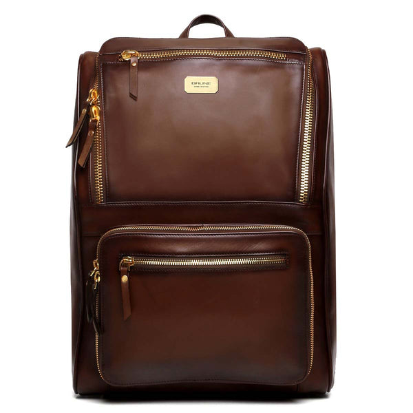 Dark Brown Multi-Pocket Elegant Leather Backpack By Brune