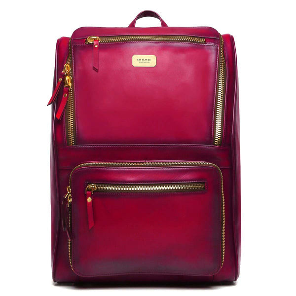 Wine Multi-Pocket Elegant Leather Backpack By Brune
