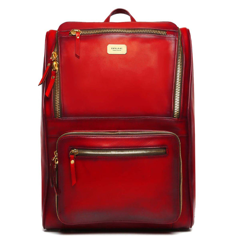 Red Multi-Pocket Elegant Leather Backpack By Brune