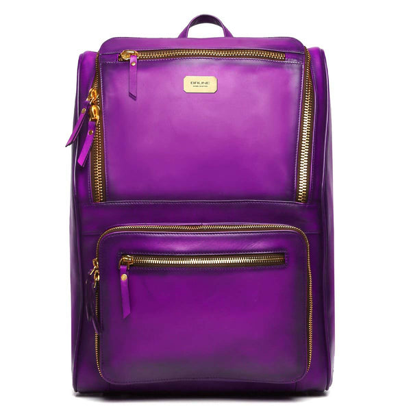 Purple Multi-Pocket Elegant Leather Backpack By Brune