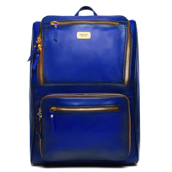 Blue Multi-Pocket Elegant Leather Backpack By Brune
