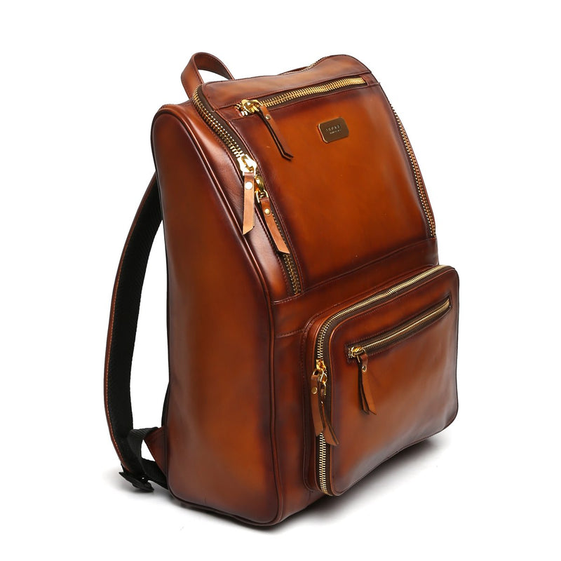 Tan Multi-Pocket Elegant Leather Backpack By Brune