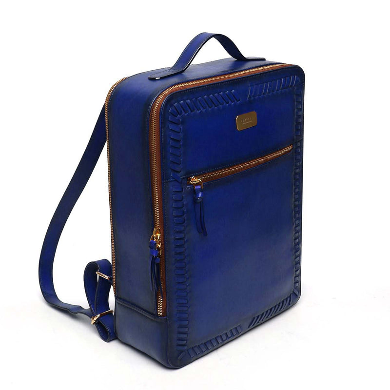 Blue Weaved Stripes Leather Backpack By Brune