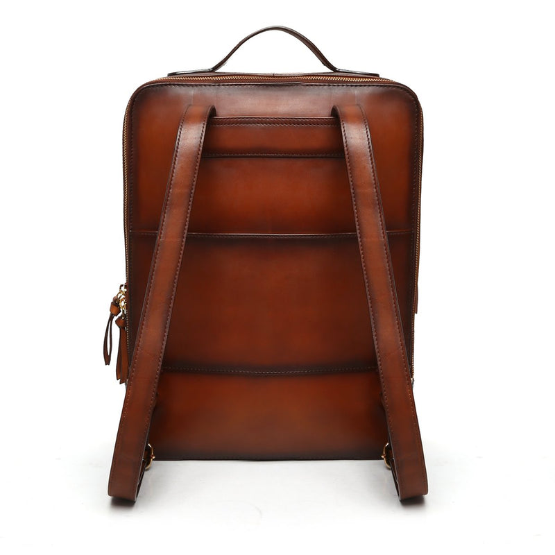 Tan Weaved Stripes Leather Backpack By Brune