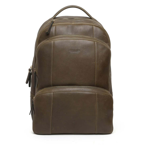 Graphite Multi-Step Pockets Leather Backpack By Brune