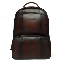 Dark Brown Multi-Step Pockets Leather Backpack By Brune