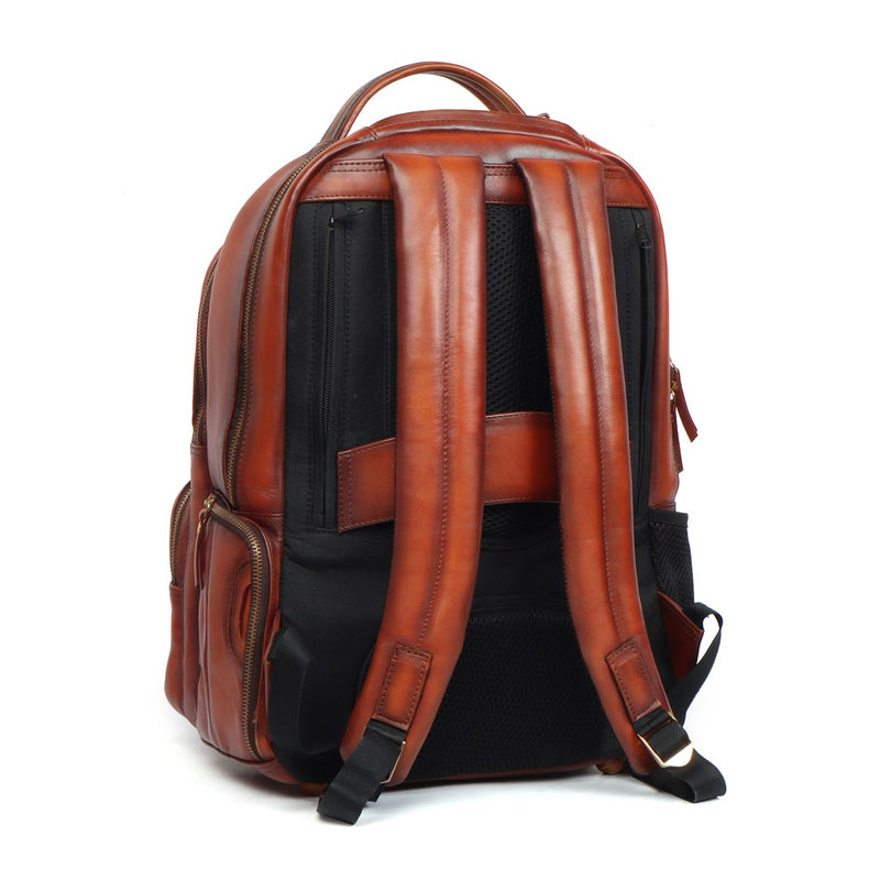 Cloudy Tan Multi-Step Pockets Leather Backpack By BrunexBareskin