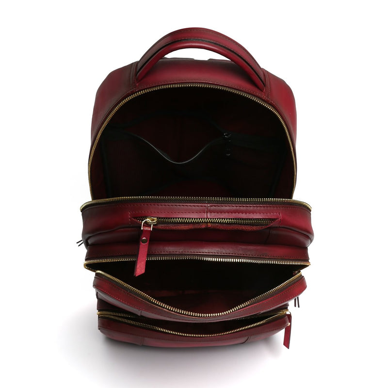 WINE MULTI-STEP POCKETS LEATHER BACKPACK BY BRUNE