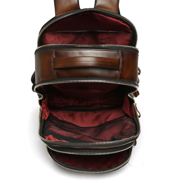 Dark Brown Front Padded Diamond Stitched Leather Backpack By Brune