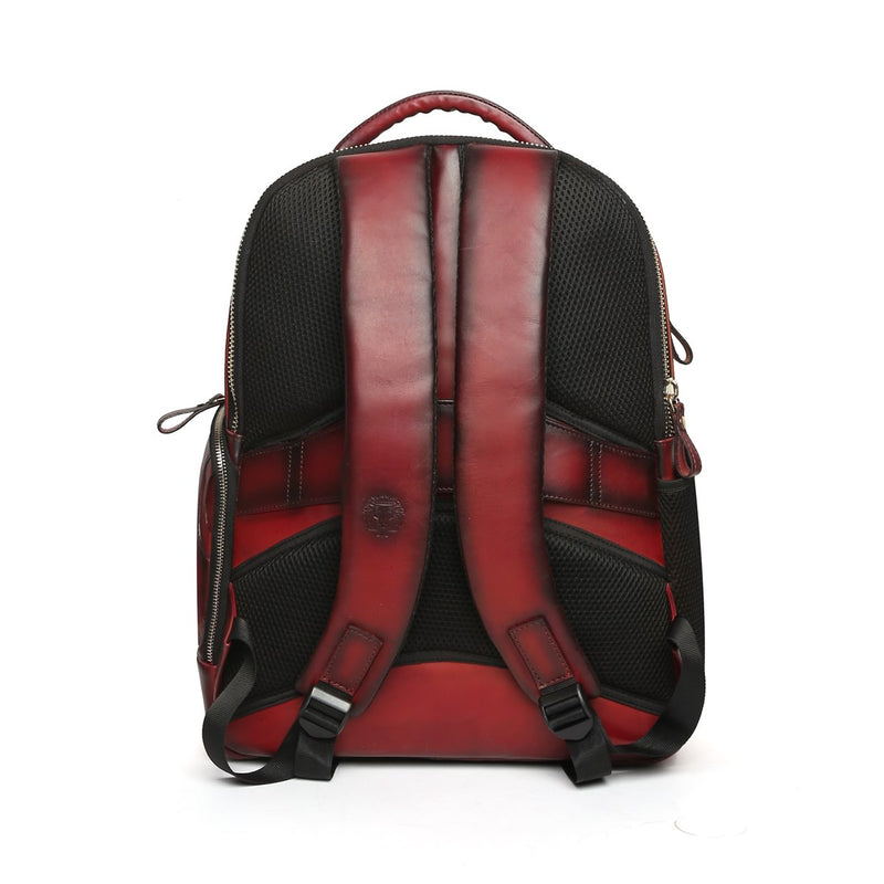Wine Front Padded Diamond Stitched Leather Backpack By Brune