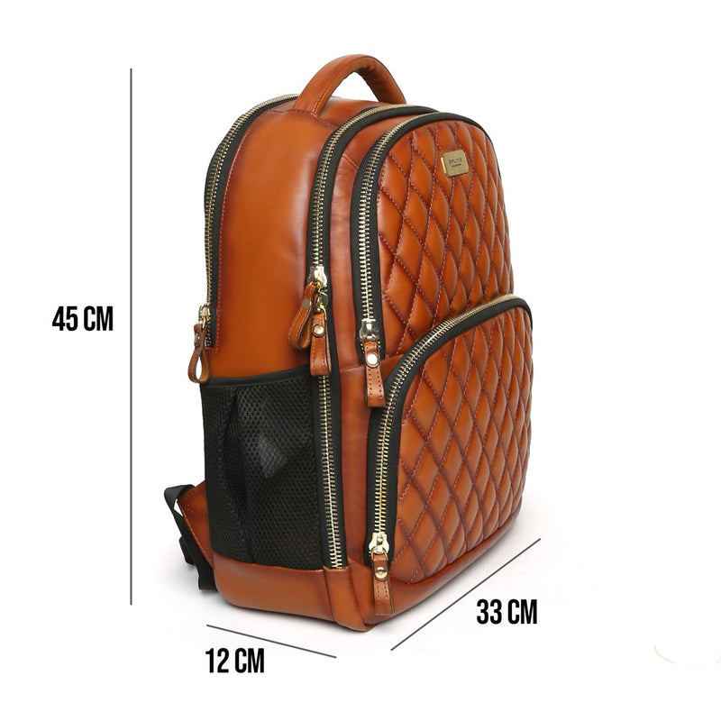 Tan Front Padded Diamond Stitched Leather Backpack By Brune