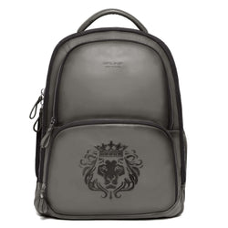 Grey Sleek & Slim Signature Lion Leather Laptop-Travel Backpack By Brune